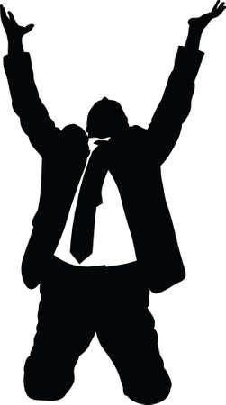Een silhouet van een zakenman knielen en smeken. Stockfoto