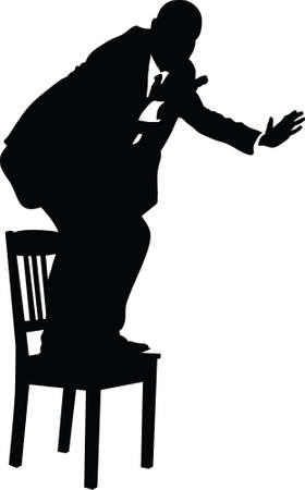 cautious: A silhouette of a businessman standing and balancing on a chair.