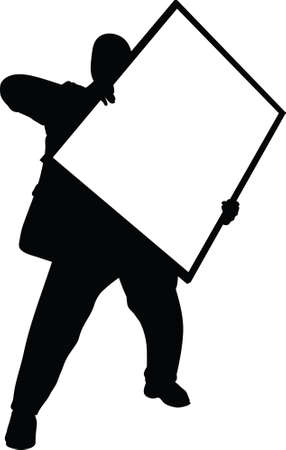 oversize: A silhouette of a man carrying a big picture frame. Stock Photo