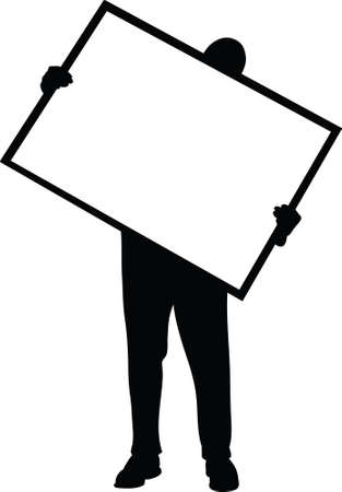 carrying: A silhouette of a man holding a blank poster frame.