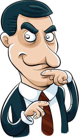 plotting: A cartoon businessman with a sly look on his face. Stock Photo