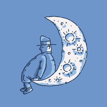 漫画男は、月の端に座っているし、夜の昼寝します。