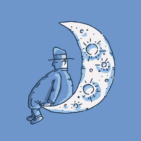 A cartoon man sits on the edge of the moon and naps at night.