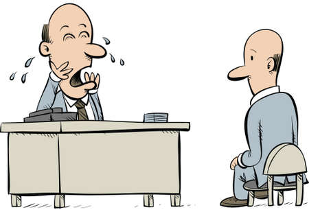 A cartoon employee sits uncomfortably as his boss cries. photo