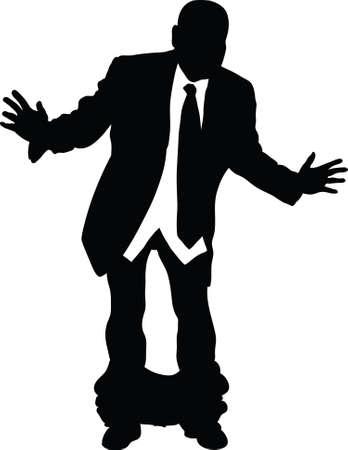 hombre cayendose: Un hombre de negocios atrapado con los pantalones abajo.