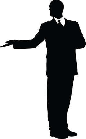 A silhouette of a businessman making a formal presentation.