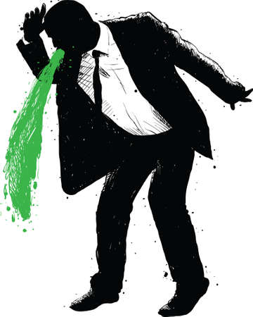 A silhouette of a businessman vomiting green.