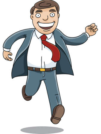A happy, cartoon businessman running with a big smile.