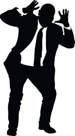 reacting: A silhouette of a businessman reacting with shock.