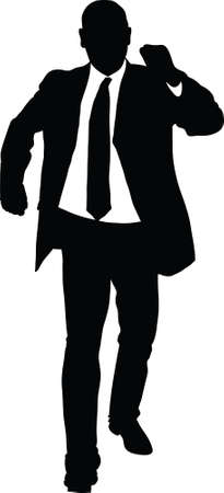 strut: A silhouette of a businessman walking with confidence.