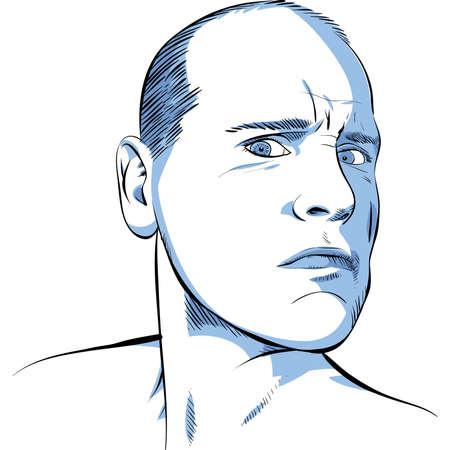An illustrated portrait of a serious, bald man. Zdjęcie Seryjne