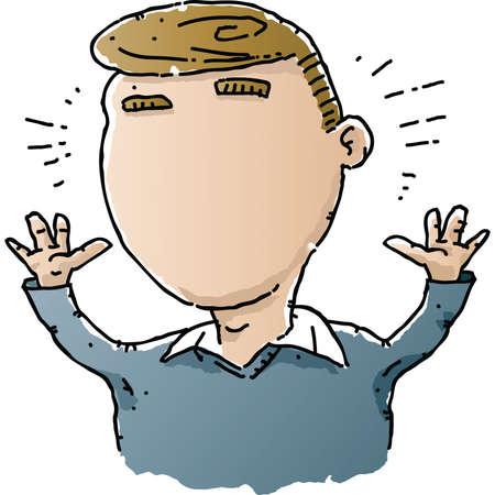 A cartoon man shocked to find he has no face. Stok Fotoğraf