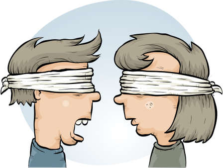 kidnapped: A cartoon couple, blindfolded together.