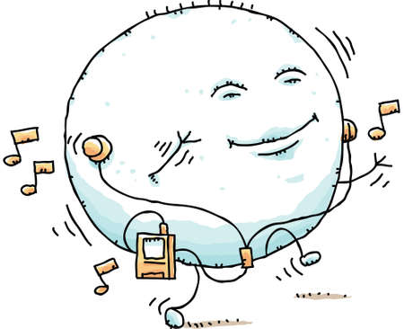 puffy: A puffy, cartoon blob dances while listening to a portable music player.