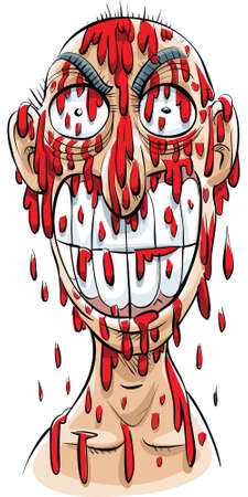 drenched: An evil-looking cartoon man, drenched in blood with a menacing smile.