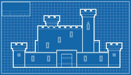 Een cartoon blauwdruk van een kasteel.