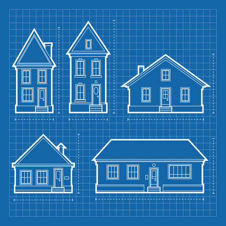 Blueprint diagrams of a variety of residential house types  Banco de Imagens