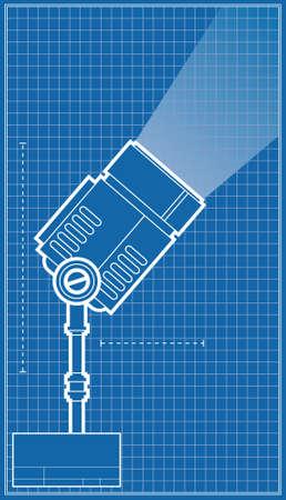 Een blauwdruk diagram van een schijnwerper Stockfoto