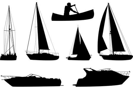 A set of silhouettes of a variety of boats