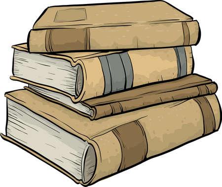 libro caricatura: Una pila de libros antiguos, dibujos animados