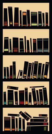 Cartoon silhouette of a full bookcase  Stock fotó
