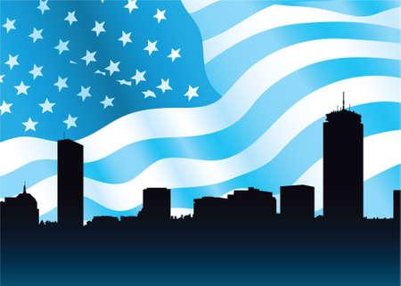 Skyline silhouette of the city of Boston, Massachusetts, USA