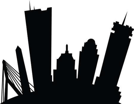 보스턴, 매사 추세 츠, 미국의 도시의 만화 스카이 라인 실루엣 스톡 콘텐츠