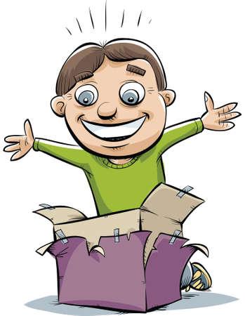 A cartoon boy happily unwraps a box