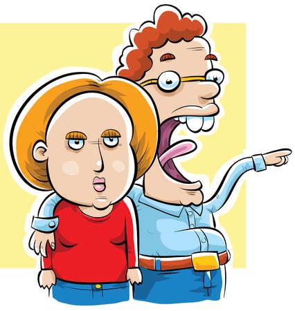 A cartoon woman is tired of her nerdy boyfriend