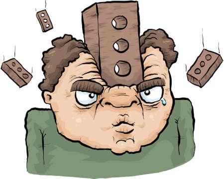 A cartoon brick smashes into a man Stock Photo