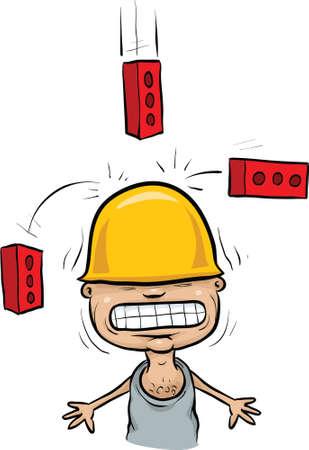 Cartoon bricks falling on a construction worker