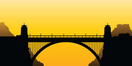 Silhouette of a road bridge with columns and a supporting arch  Reklamní fotografie