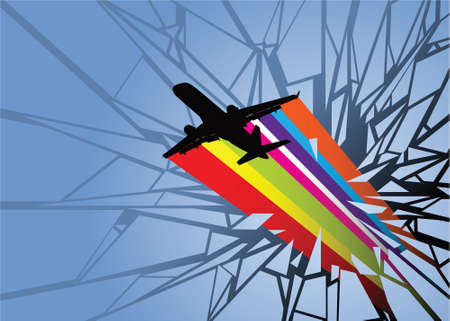 barrier: A silhouette of a commercial jet smashing a barrier  Stock Photo