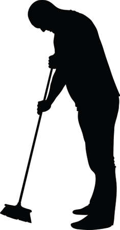 A silhouette of a man sweeping up with a broom