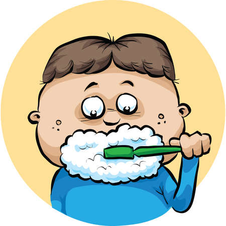 A cartoon boy makes foam while brushing his teeth