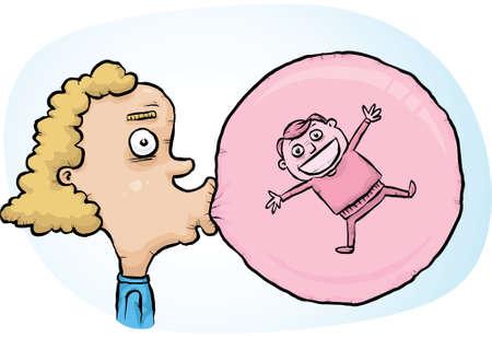 만화 소년은 행복 소녀 안에 갇혀