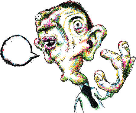 proportions of man: Cartoon of an office worker talking with a blank speech bubble