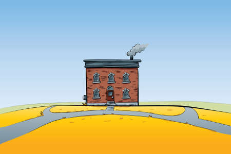 A cartoon building alone on a yellow hill  Stock fotó