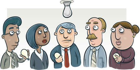 try: A group of cartoon people try to figure out how to change a lightbulb  Stock Photo