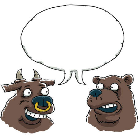 A cartoon bull and bear in conversation, sharing a blank speech bubble  photo