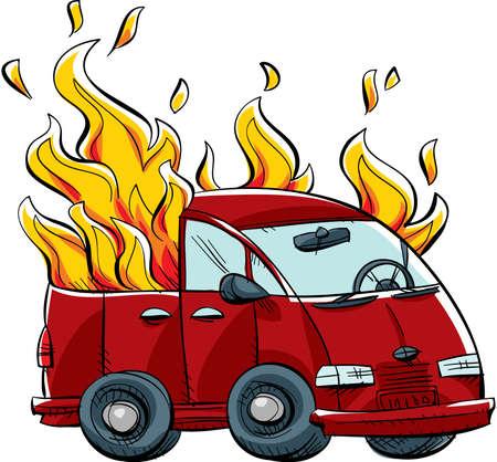 minivan: A cartoon minivan burns in flames