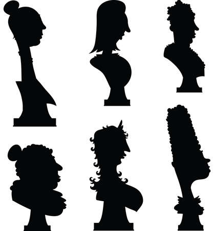busts: Cartoon silhouette of a set of statue busts of women  Stock Photo