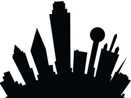 Cartoon skyline silhouette de la ville de Dallas, Texas, USA. Banque d'images - 29156514