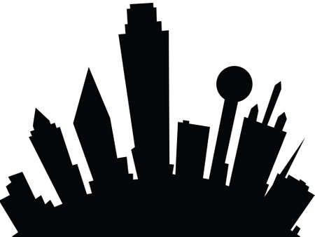 Cartoon skyline silhouette of the city of Dallas, Texas, USA.