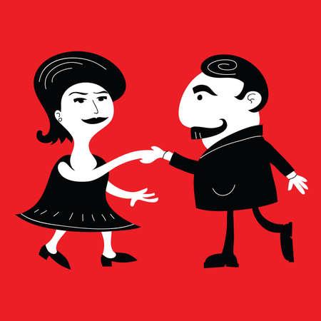 A retro cartoon couple dancing. Vector