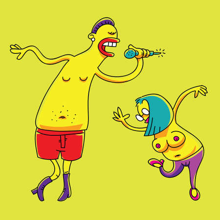 topless women: A funky singer and dancer perform. Illustration