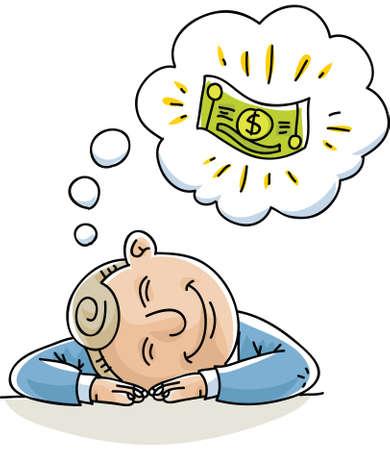 cash money: A cartoon businessman naps and dreams about money.