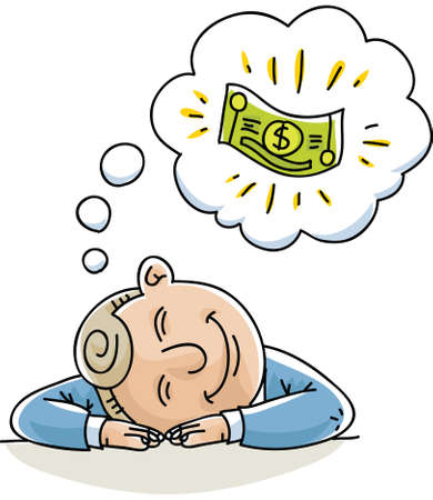 A cartoon businessman naps and dreams about money.