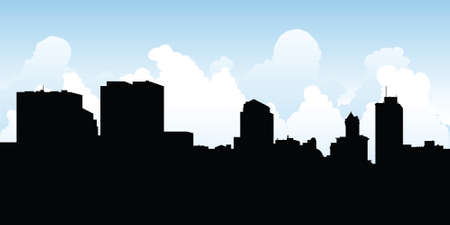 business district: Skyline silhouette of the city of Dayton, Ohio, USA.