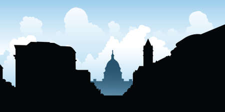 dc: Skyline silhouette of the city of Washington D.C., USA. Illustration